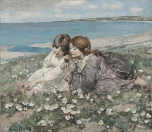 Painting of two girls sitting in grass and flowers by the beach